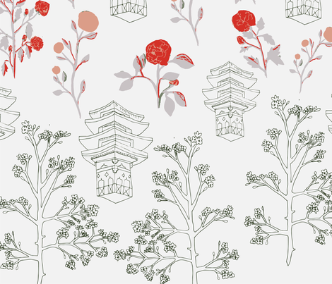 pagoda fabric by audie_rose on Spoonflower - custom fabric