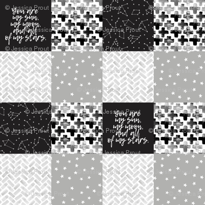 You are my sun, my moon, and all of my stars - monochrome patchwork baby nursery
