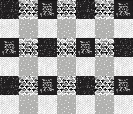 You are my sun, my moon, and all of my stars - monochrome patchwork baby nursery  fabric by littlearrowdesign on Spoonflower - custom fabric