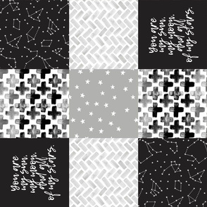 You are my sun, my moon, and all of my stars - monochrome patchwork baby nursery  (90)
