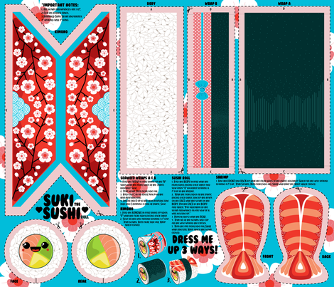 Suki Sushi Plays Dress Up fabric by nanshizzle on Spoonflower - custom fabric