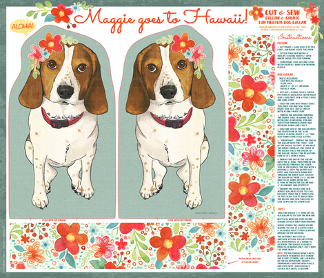 Maggie goes to Hawaii - pillow & dog collar fabric by jennartdesigns on Spoonflower - custom fabric