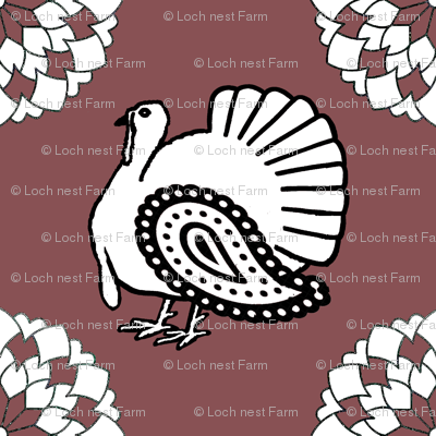 Turkey Polka Kerchief on Red Plum | Ripe Figs