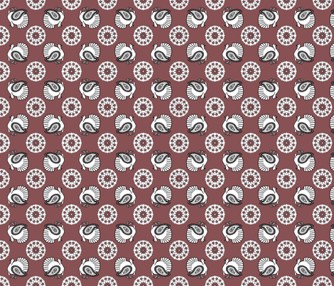 Turkey Polka Kerchief on Red Plum | Ripe Figs fabric by lochnestfarm on Spoonflower - custom fabric