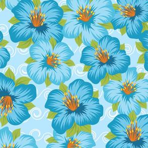 Blue Flowers in Sea of Waves