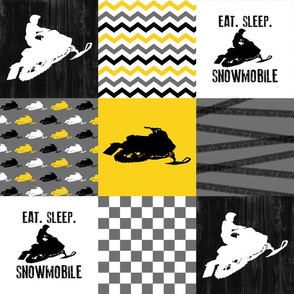 Eat Sleep Snowmobile//Yellow - Wholecloth Cheater Quilt