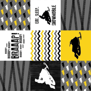 Eat Sleep Snowmobile//Yellow - Wholecloth Cheater Quilt - Rotated