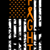 Fight//Lukemia/Kidney Cancer//US Flag - 2 Yard Lay out (Minky)