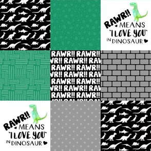 Dinosaur//Rawr means I love you//Green - Wholecloth Cheater Quilt