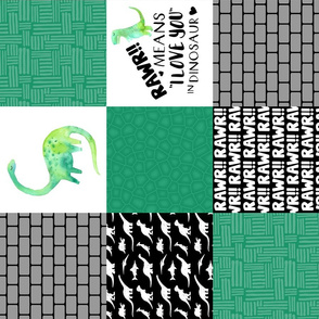 Dinosaur//Rawr means I love you//Green - Wholecloth Cheater Quilt - Rotated