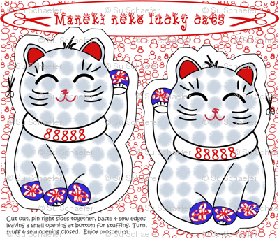 Maneki neko lucky cat cut + sew by Su_G