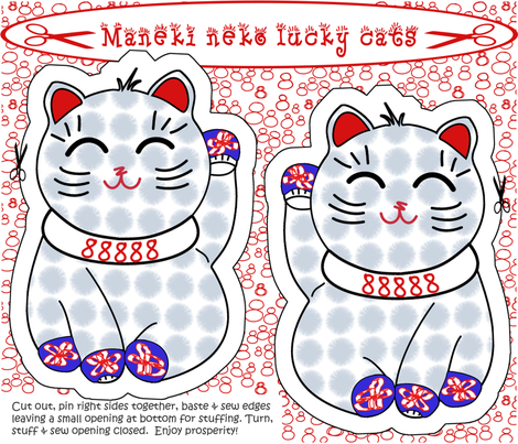 Maneki neko lucky cat cut + sew by Su_G fabric by su_g on Spoonflower - custom fabric