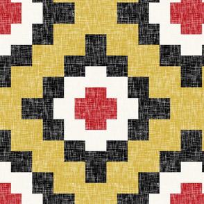 Mustard, poppy, black + white, linen-weave traditional by Su_G