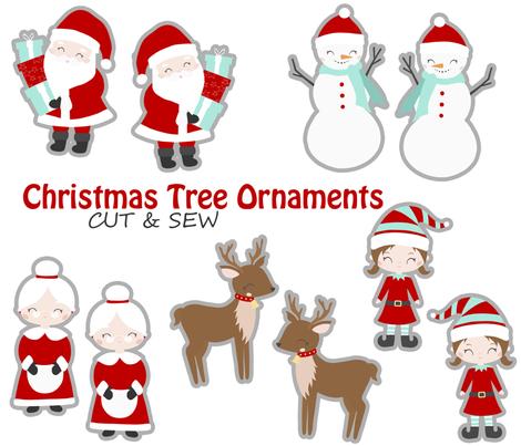 Christmas tree ornaments fabric by nagorerodriguezdesign on Spoonflower - custom fabric