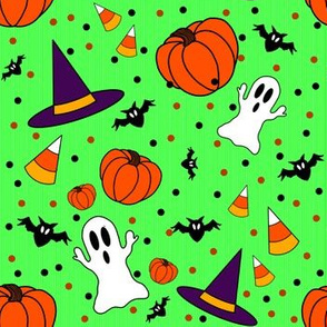 Halloween Pattern  With Green Background