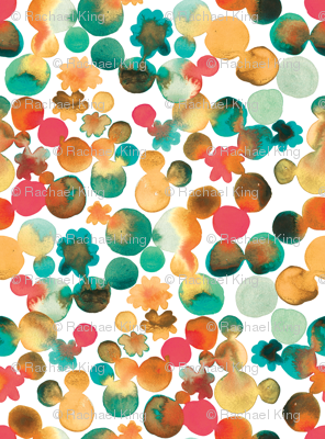 Dotty Floral in Amber and Emerald