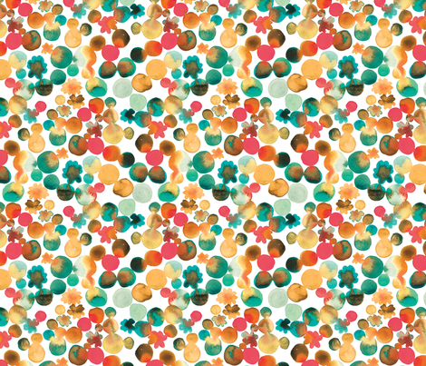 Dotty Floral in Amber and Emerald fabric by rachael_king on Spoonflower - custom fabric