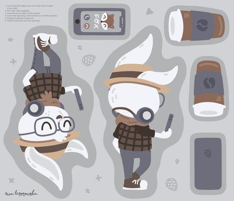 Hipster Woodland Cut & Sew Bunny Plushie fabric by ewa_brzozowska on Spoonflower - custom fabric