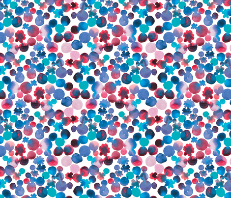 Dotty Floral in Blues with Red fabric by rachael_king on Spoonflower - custom fabric