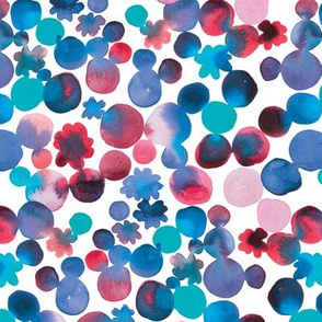 Dotty Floral in Blues with Red