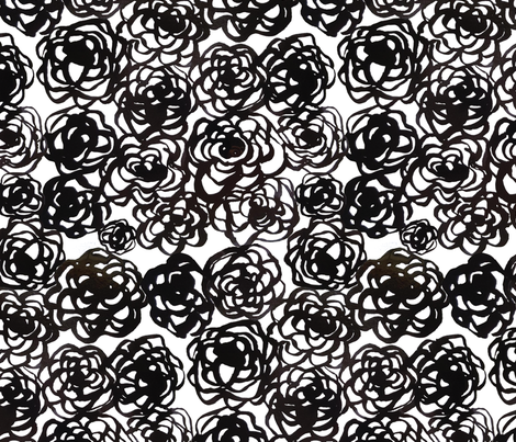 Black ink floral fabric by rachael_king on Spoonflower - custom fabric