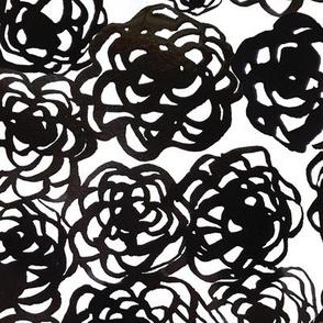 Black ink floral