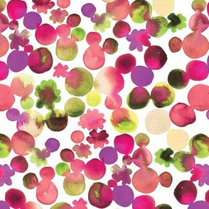 Dotty Floral in Pinks and Green