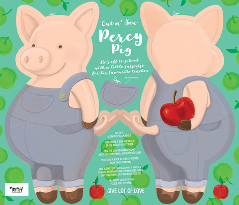 Percy Pig - Cut and Sew Cuddly 21 x 18inch fabric by pinmintprint on Spoonflower - custom fabric