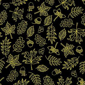 Autumn Doodle Leaves Gold On Black
