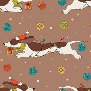 Christmas dog pattern