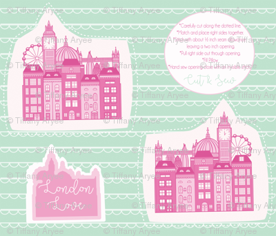 London Skyline Cut & Sew Pillow