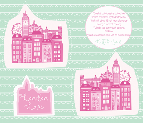 London Skyline Cut & Sew Pillow fabric by tiffanyaryee on Spoonflower - custom fabric