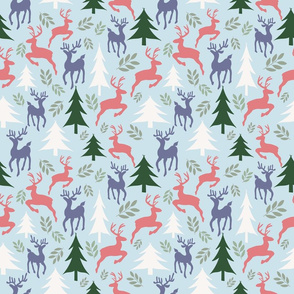 Sky Blue Vintage Christmas trees and Reindeers 2