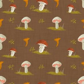 Mushroom Pattern Simple Repeat-Brown