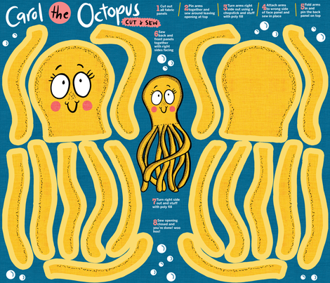 Octopus cut and sew fabric by laurawrightstudio on Spoonflower - custom fabric