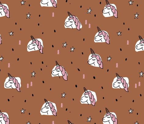 Unicorn sparkles and stars winter snow design girls christmas copper pink LARGE fabric by littlesmilemakers on Spoonflower - custom fabric
