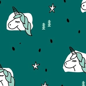 Unicorn sparkles and stars winter snow design girls christmas copper green blue mint LARGE