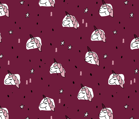 Unicorn sparkles and stars winter snow design girls christmas maroon pink LARGE fabric by littlesmilemakers on Spoonflower - custom fabric