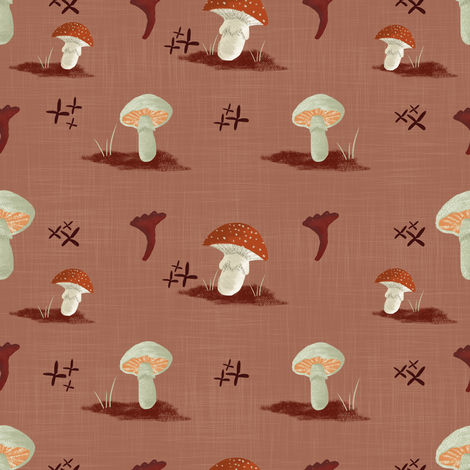 Mushroom Pattern Simple Repeat-Red fabric by a_creative_almanac on Spoonflower - custom fabric