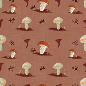 Mushroom Pattern Simple Repeat-Red