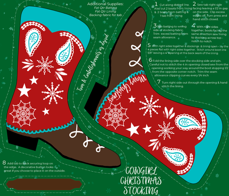 Cowgirl Christmas Stocking Cut and Sew fabric by stasiajahadi on Spoonflower - custom fabric