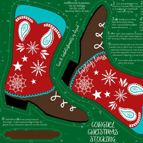 Cowgirl Christmas Stocking Cut and Sew