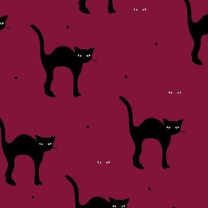 Cute retro style halloween black cats kitten design in fall winter colors maroon