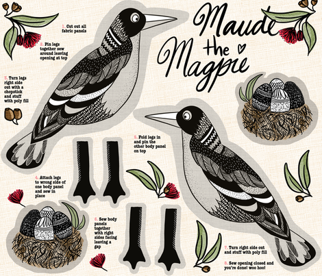 Maude the Magpie cut and sew fabric by laurawrightstudio on Spoonflower - custom fabric