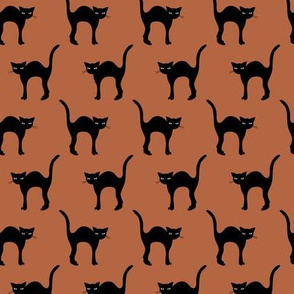Cute retro style halloween friends black cats kitten design in fall winter colors copper