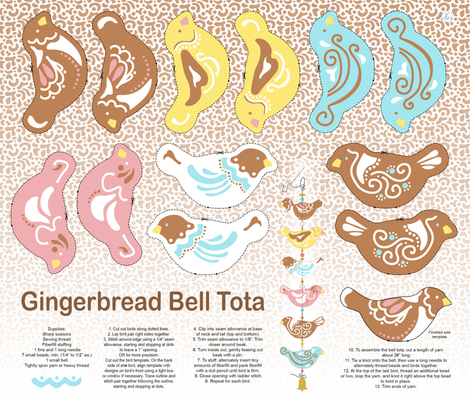 Gingerbread Bell Tota fabric by leahsoha on Spoonflower - custom fabric