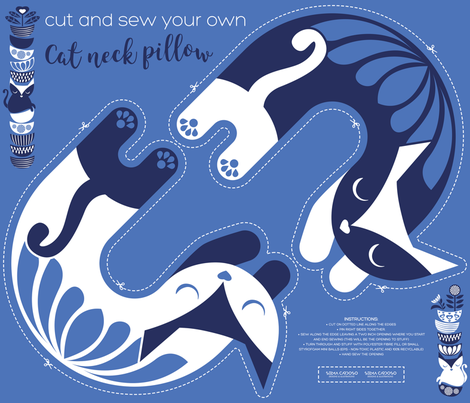 Cut and sew your own cat neck pillow // blue white and marine  fabric by selmacardoso on Spoonflower - custom fabric