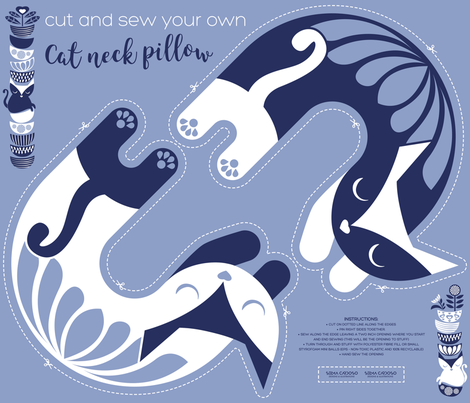 Cut and sew your own cat neck pillow // pale blue white and marine blue fabric by selmacardoso on Spoonflower - custom fabric