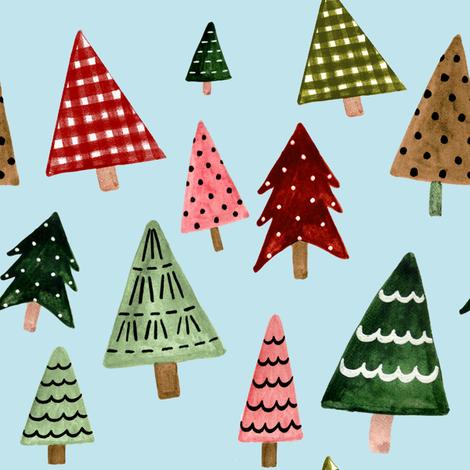 "8"" Holiday Pines // Powder Blue fabric by hipkiddesigns on Spoonflower - custom fabric"