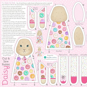 Daisy Donut Cut and Sew Rabbit Doll - fat quarter project